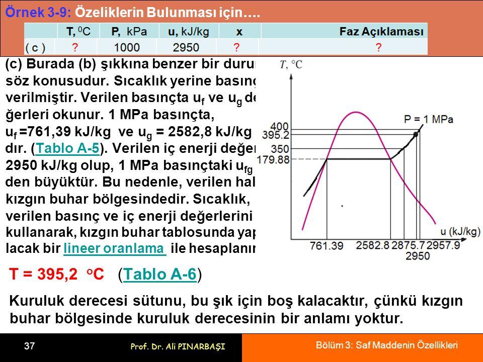 Bölüm 3: Saf Maddenin Özellikleri 37 Prof. Dr. Ali PINARBAŞI Örnek 3-9: Özeliklerin Bulunması için…. (c) Burada (b) şıkkına benzer bir durum söz konus