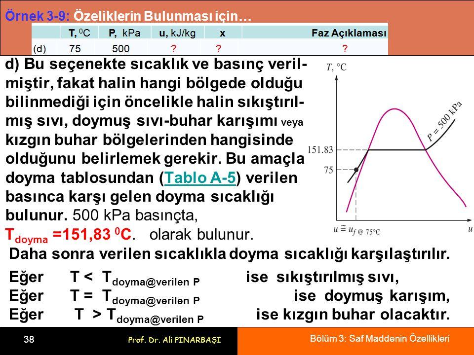 Bölüm 3: Saf Maddenin Özellikleri 38 Prof. Dr. Ali PINARBAŞI Örnek 3-9: Özeliklerin Bulunması için… d) Bu seçenekte sıcaklık ve basınç veril- miştir,