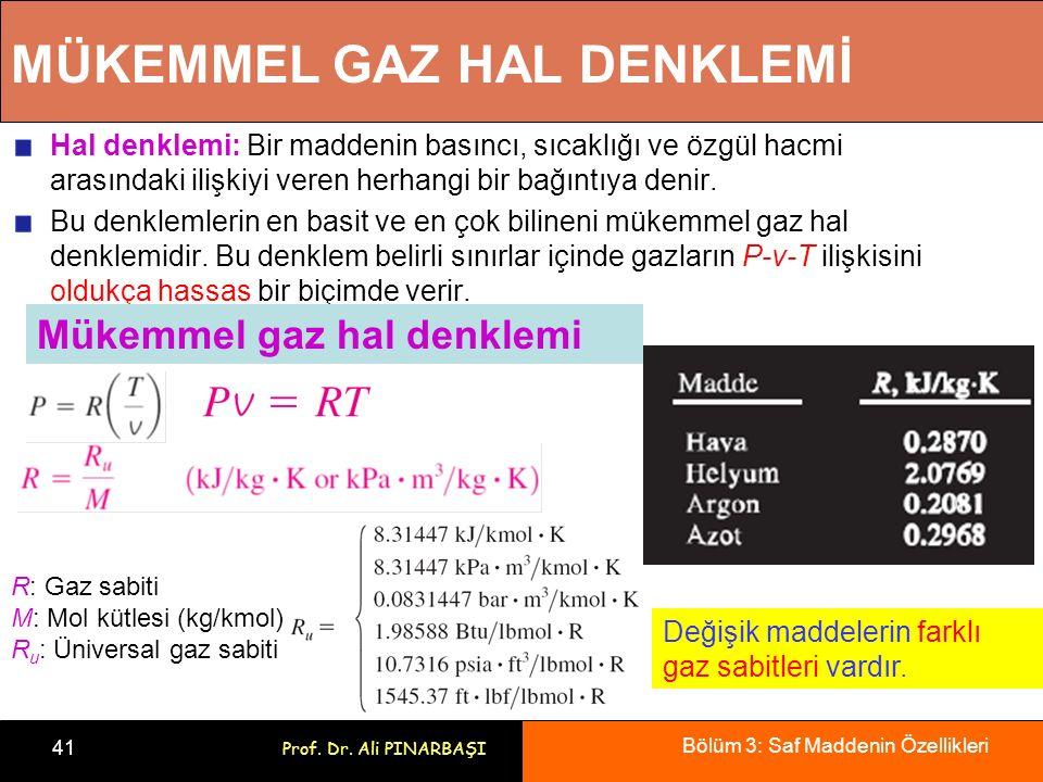 Bölüm 3: Saf Maddenin Özellikleri 41 Prof. Dr. Ali PINARBAŞI MÜKEMMEL GAZ HAL DENKLEMİ Hal denklemi: Bir maddenin basıncı, sıcaklığı ve özgül hacmi ar