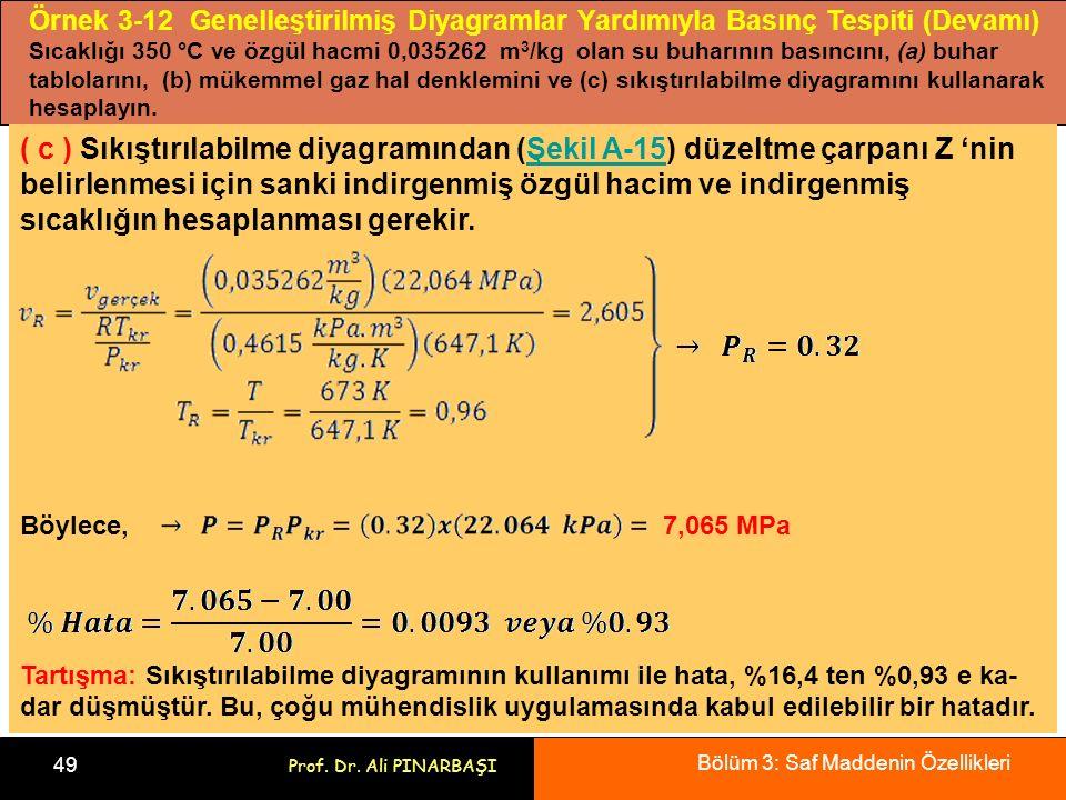 Bölüm 3: Saf Maddenin Özellikleri 49 Prof. Dr. Ali PINARBAŞI Örnek 3-12 Genelleştirilmiş Diyagramlar Yardımıyla Basınç Tespiti (Devamı) Sıcaklığı 350