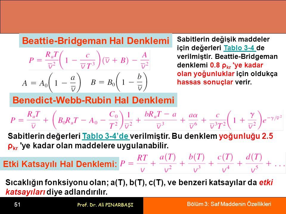 Bölüm 3: Saf Maddenin Özellikleri 51 Prof. Dr. Ali PINARBAŞI Beattie-Bridgeman Hal Denklemi Sabitlerin değişik maddeler için değerleri Tablo 3-4 de ve