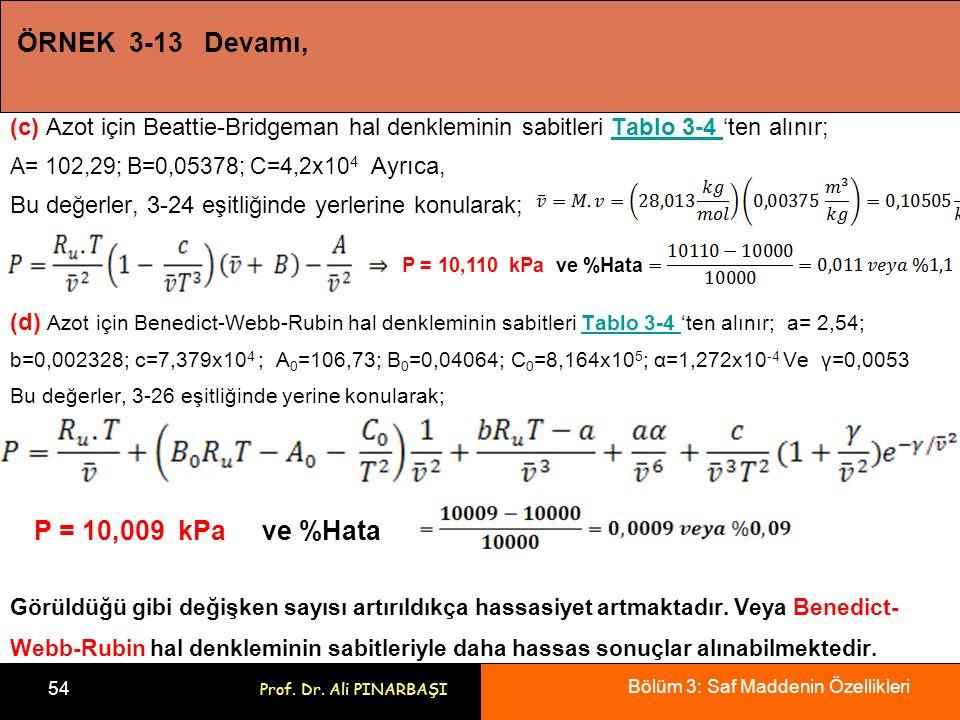 Bölüm 3: Saf Maddenin Özellikleri 54 Prof. Dr. Ali PINARBAŞI ÖRNEK 3-13 Devamı, (c) Azot için Beattie-Bridgeman hal denkleminin sabitleri Tablo 3-4 't