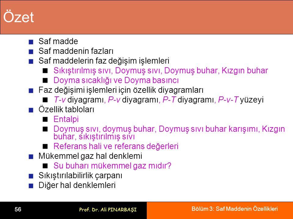 Bölüm 3: Saf Maddenin Özellikleri 56 Prof. Dr. Ali PINARBAŞI Özet Saf madde Saf maddenin fazları Saf maddelerin faz değişim işlemleri Sıkıştırılmış sı