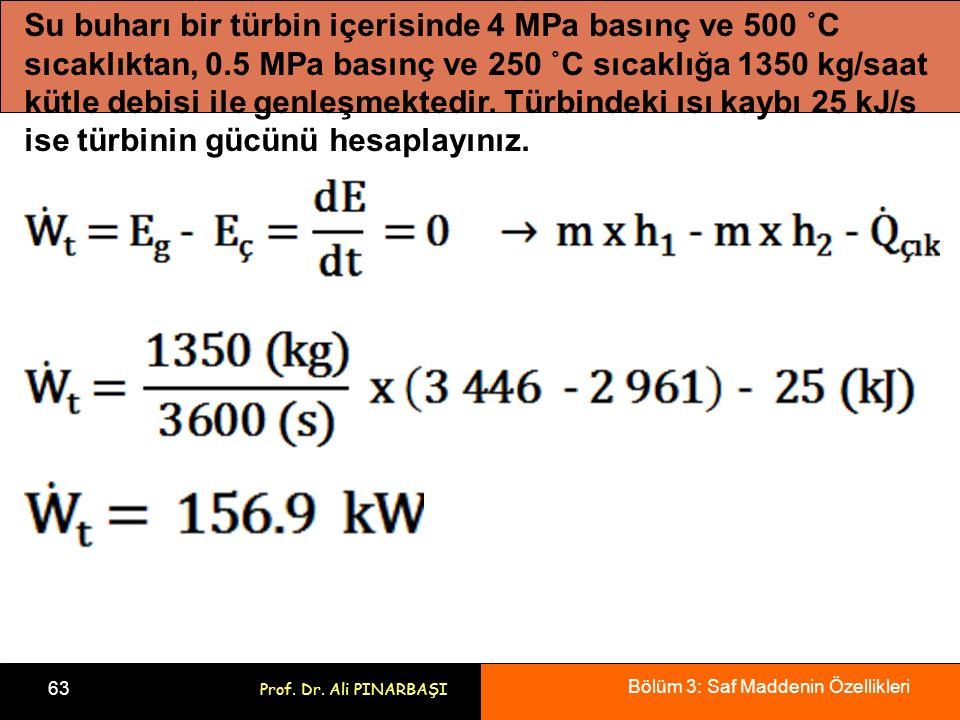 Bölüm 3: Saf Maddenin Özellikleri 63 Prof. Dr. Ali PINARBAŞI Su buharı bir türbin içerisinde 4 MPa basınç ve 500 ˚C sıcaklıktan, 0.5 MPa basınç ve 250