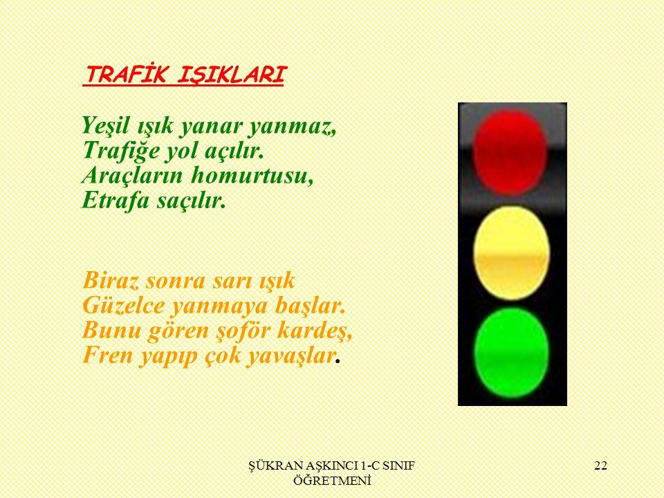 ŞÜKRAN AŞKINCI 1-C SINIF ÖĞRETMENİ 22 TRAFİK IŞIKLARI Yeşil ışık yanar yanmaz, Trafiğe yol açılır.