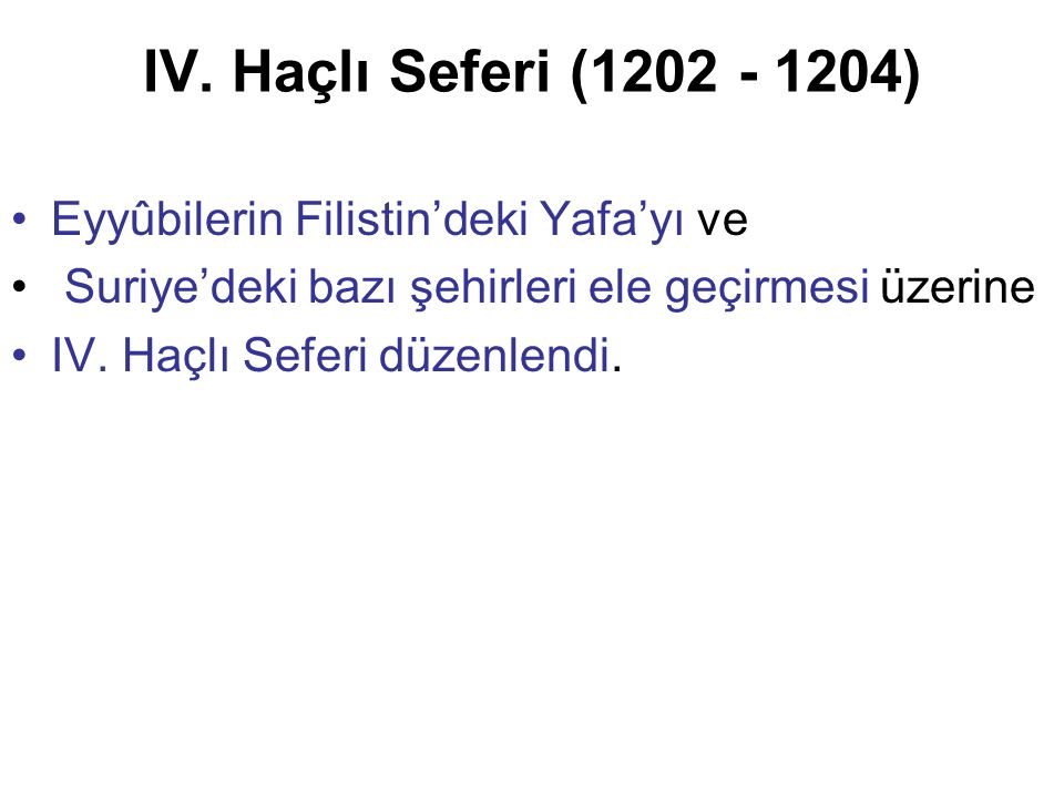 IV. Haçlı Seferi (1202 - 1204) Eyyûbilerin Filistin'deki Yafa'yı ve Suriye'deki bazı şehirleri ele geçirmesi üzerine IV. Haçlı Seferi düzenlendi.