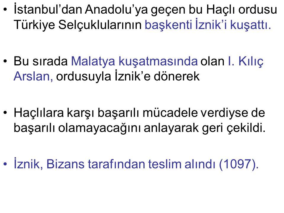 İstanbul'dan Anadolu'ya geçen bu Haçlı ordusu Türkiye Selçuklularının başkenti İznik'i kuşattı. Bu sırada Malatya kuşatmasında olan I. Kılıç Arslan, o