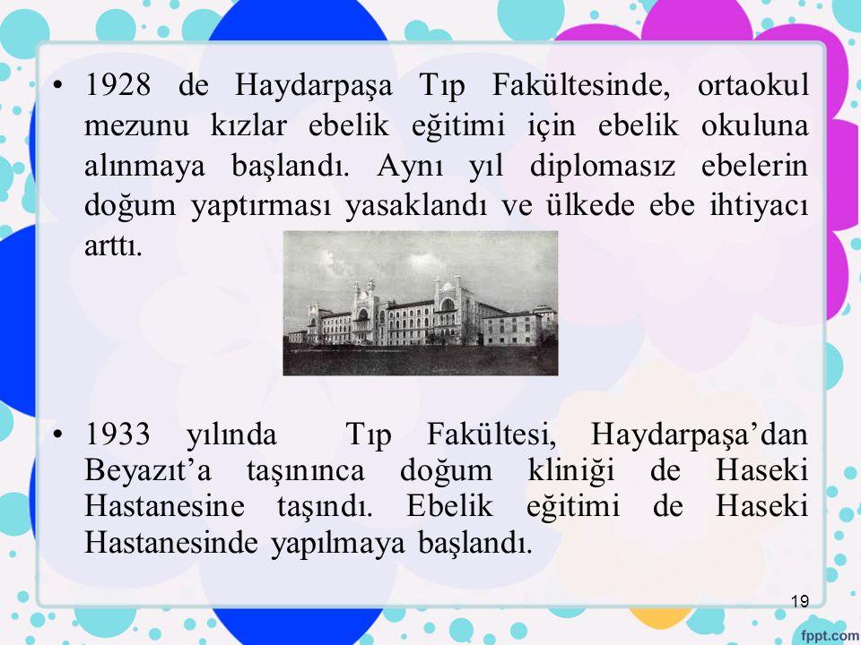 1928 de Haydarpaşa Tıp Fakültesinde, ortaokul mezunu kızlar ebelik eğitimi için ebelik okuluna alınmaya başlandı.