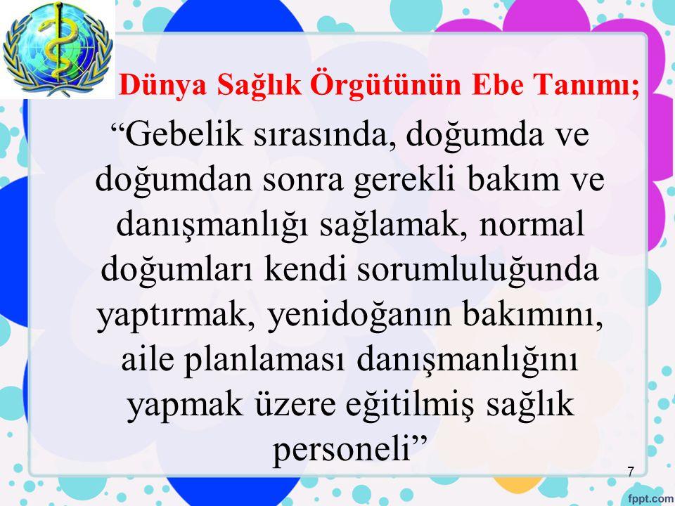 Türkiye'deki Sağlık Sisteminde Ebelerin Yaptığı Görevler; 28