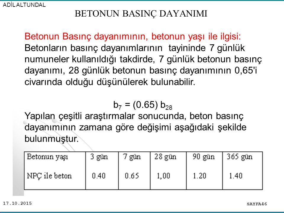 17.10.2015 SAYFA46 ADİL ALTUNDAL Betonun Basınç dayanımının, betonun yaşı ile ilgisi: Betonların basınç dayanımlarının tayininde 7 günlük numuneler ku