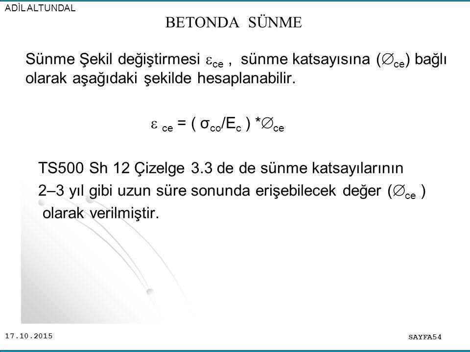 17.10.2015 Sünme Şekil değiştirmesi  ce, sünme katsayısına (  ce ) bağlı olarak aşağıdaki şekilde hesaplanabilir.  ce = ( σ co /E c ) *  ce TS500