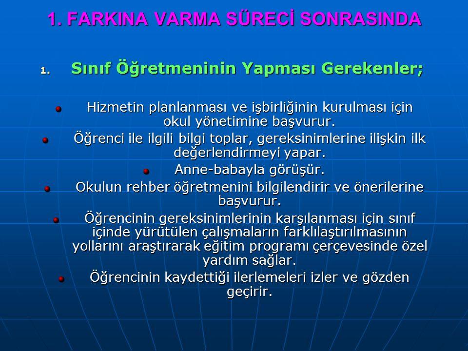 1. FARKINA VARMA SÜRECİ SONRASINDA 1.