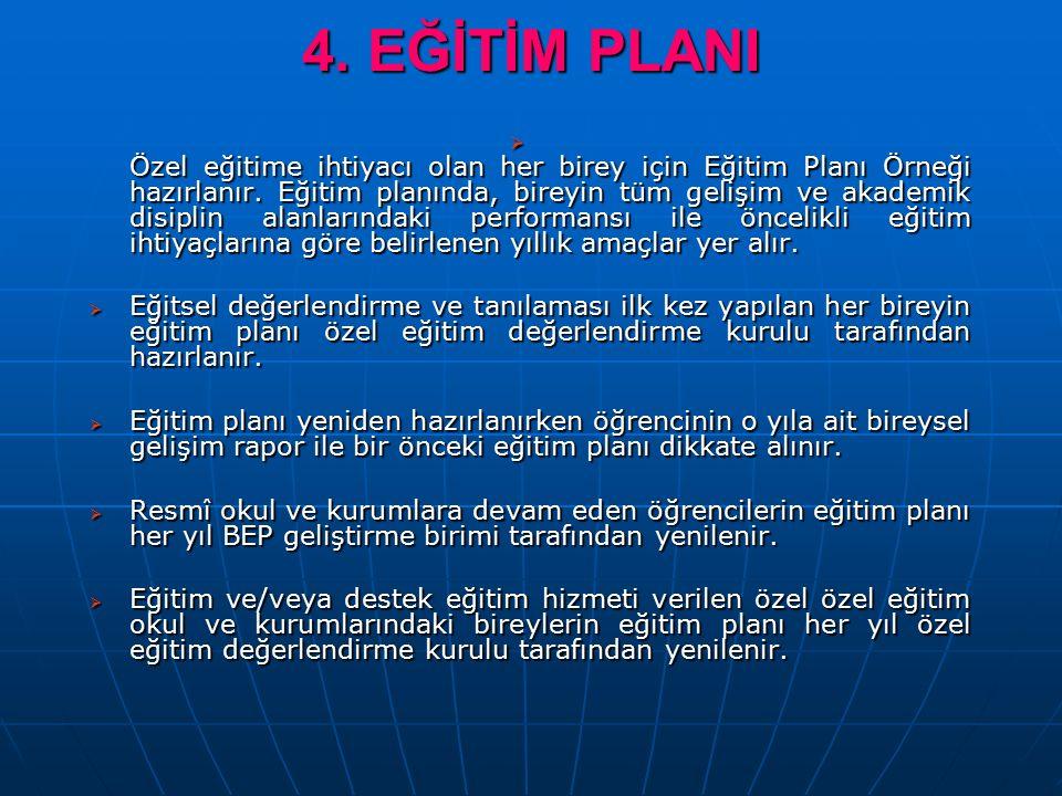 4. EĞİTİM PLANI  Özel eğitime ihtiyacı olan her birey için Eğitim Planı Örneği hazırlanır.