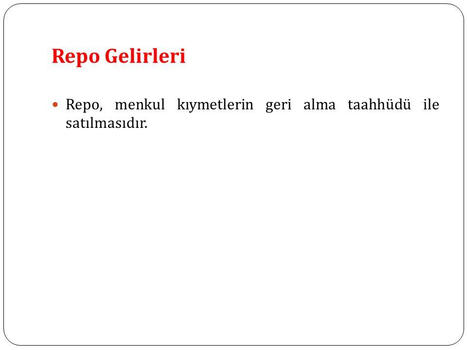 Repo Gelirleri Repo, menkul kıymetlerin geri alma taahhüdü ile satılmasıdır.