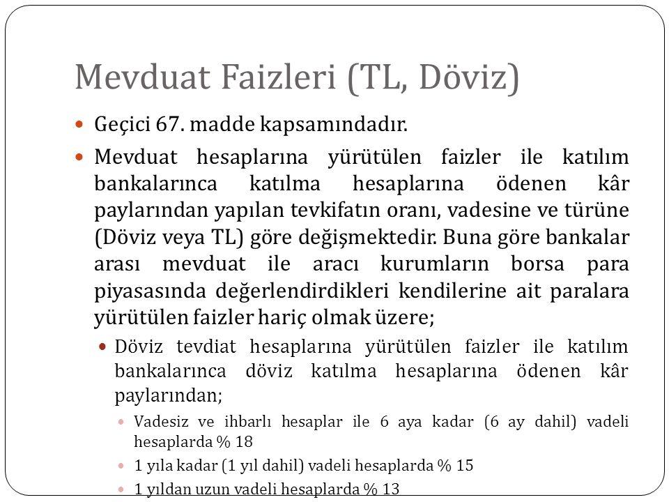 Mevduat Faizleri (TL, Döviz) Geçici 67. madde kapsamındadır. Mevduat hesaplarına yürütülen faizler ile katılım bankalarınca katılma hesaplarına ödenen