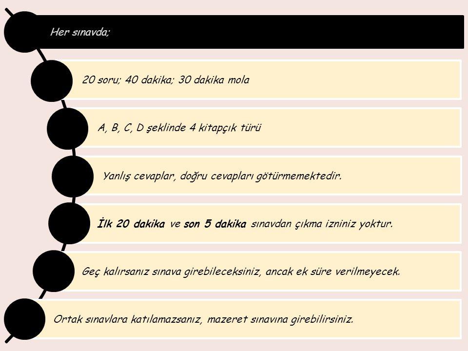 Her sınavda; 20 soru; 40 dakika; 30 dakika mola A, B, C, D şeklinde 4 kitapçık türü Yanlış cevaplar, doğru cevapları götürmemektedir. İlk 20 dakika ve
