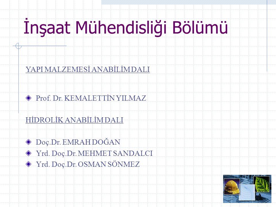 İnşaat Mühendisliği Bölümü YAPI MALZEMESİ ANABİLİM DALI Prof. Dr. KEMALETTİN YILMAZ HİDROLİK ANABİLİM DALI Doç.Dr. EMRAH DOĞAN Yrd. Doç.Dr. MEHMET SAN
