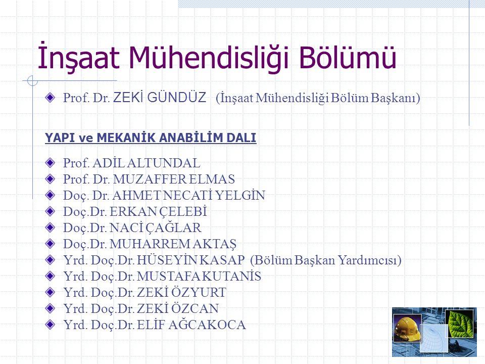 İnşaat Mühendisliği Bölümü YAPI MALZEMESİ ANABİLİM DALI Prof.