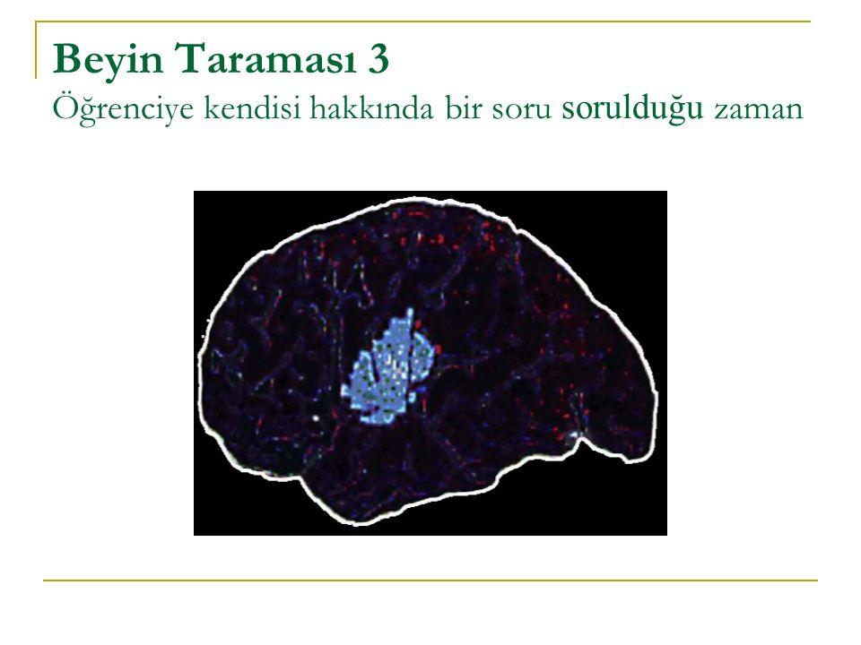 Beyin Taraması 3 Öğrenciye kendisi hakkında bir soru sorulduğu zaman
