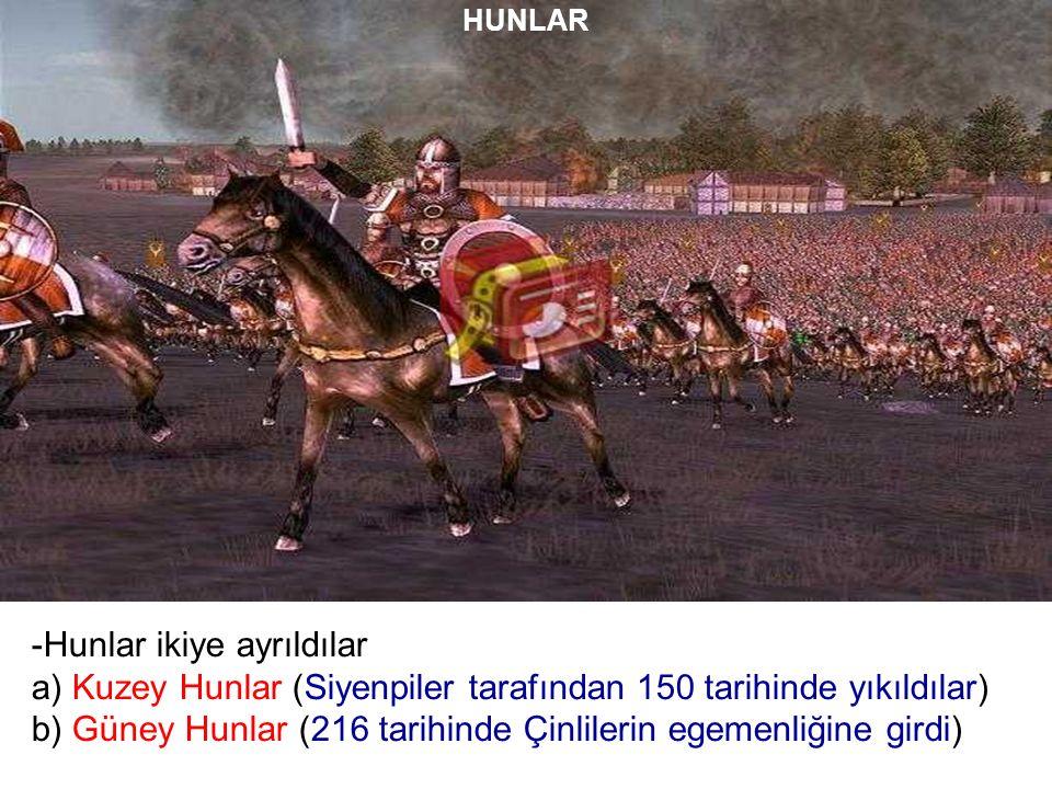 HUNLAR -Hunlar ikiye ayrıldılar a) Kuzey Hunlar (Siyenpiler tarafından 150 tarihinde yıkıldılar) b) Güney Hunlar (216 tarihinde Çinlilerin egemenliğine girdi)