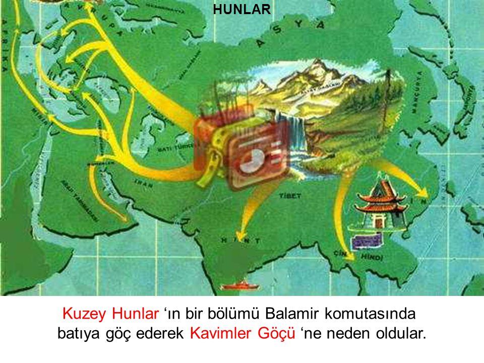 HUNLAR Kuzey Hunlar 'ın bir bölümü Balamir komutasında batıya göç ederek Kavimler Göçü 'ne neden oldular.