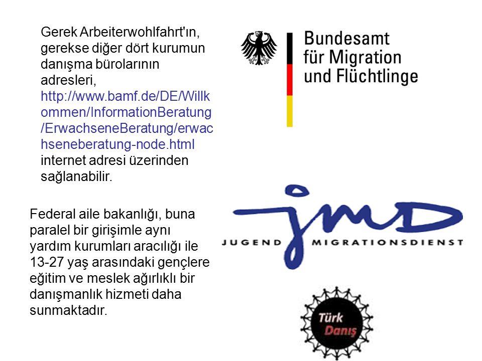 Gerek Arbeiterwohlfahrt ın, gerekse diğer dört kurumun danışma bürolarının adresleri, http://www.bamf.de/DE/Willk ommen/InformationBeratung /ErwachseneBeratung/erwac hseneberatung-node.html internet adresi üzerinden sağlanabilir.