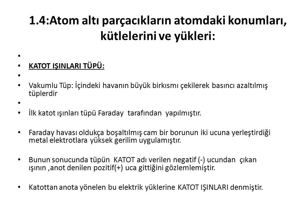 1.4:Atom altı parçacıkların atomdaki konumları, kütlelerini ve yükleri: KATOT IŞINLARI TÜPÜ: Vakumlu Tüp: İçindeki havanın büyük birkısmı çekilerek basıncı azaltılmış tüplerdir İlk katot ışınları tüpü Faraday tarafından yapılmıştır.