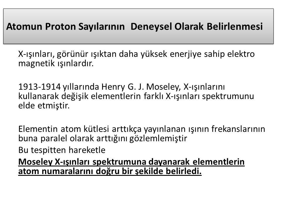 Atomun Proton Sayılarının Deneysel Olarak Belirlenmesi X-ışınları, görünür ışıktan daha yüksek enerjiye sahip elektro magnetik ışınlardır.