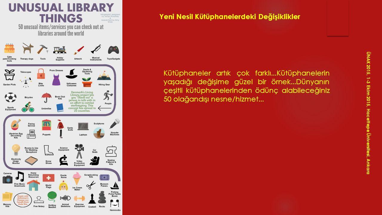 ÜNAK 2015, 1-3 Ekim 2015, Hacettepe Üniversitesi, Ankara Yeni Nesil Kütüphanelerdeki Değişiklikler Kütüphaneler artık çok farklı...Kütüphanelerin yaşa
