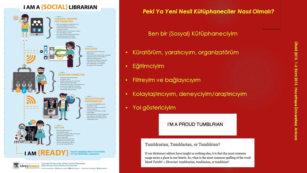 ÜNAK 2015, 1-3 Ekim 2015, Hacettepe Üniversitesi, Ankara Yeni Nesil Kütüphanelerdeki Değişiklikler Kütüphaneler artık çok farklı...Kütüphanelerin yaşadığı değişime güzel bir örnek...Dünyanın çeşitli kütüphanelerinden ödünç alabileceğiniz 50 olağandışı nesne/hizmet...