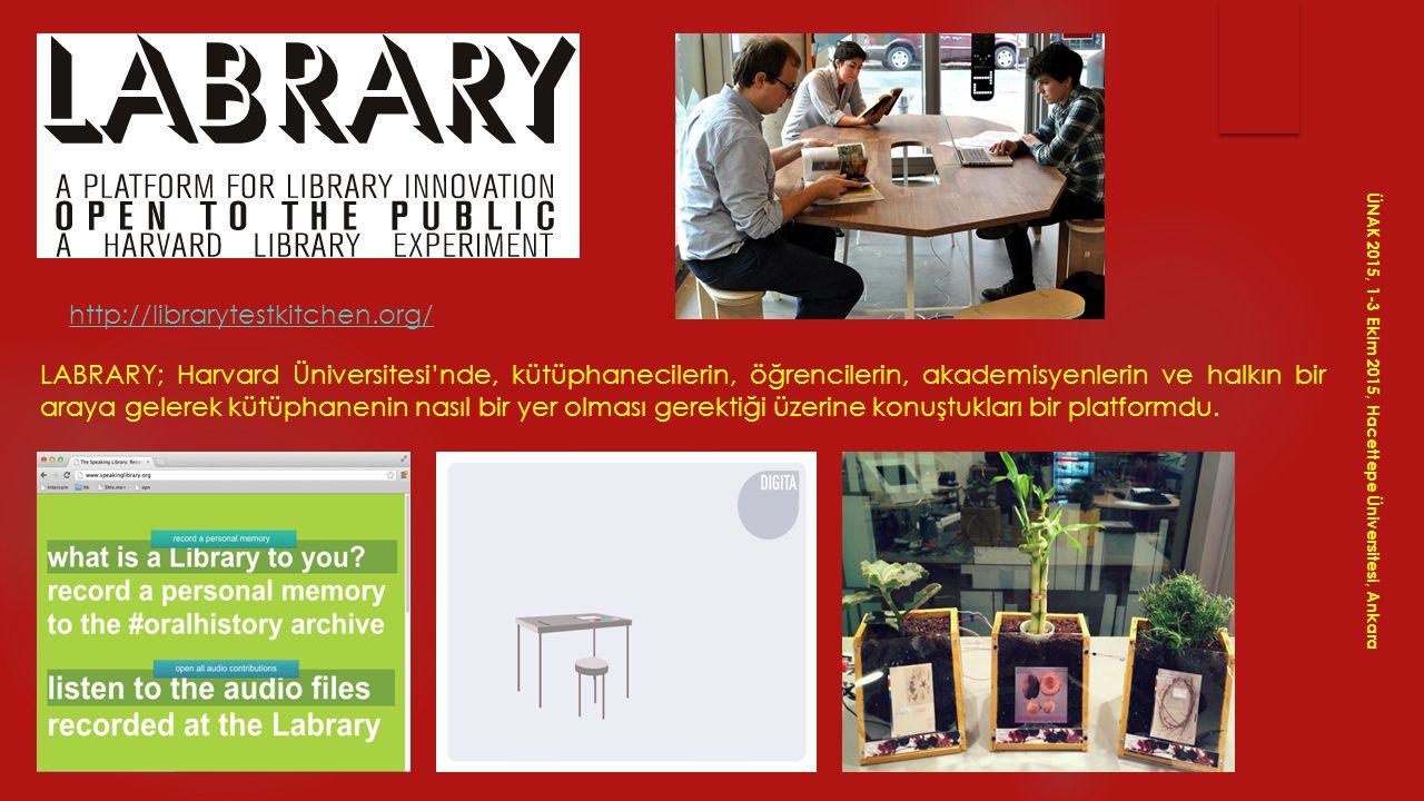 http://librarytestkitchen.org/ LABRARY; Harvard Üniversitesi'nde, kütüphanecilerin, öğrencilerin, akademisyenlerin ve halkın bir araya gelerek kütüpha