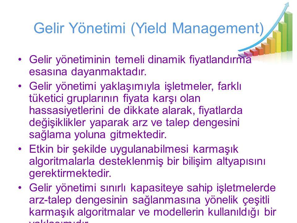 Gelir Yönetimi (Yield Management) Gelir yönetiminin temeli dinamik fiyatlandırma esasına dayanmaktadır. Gelir yönetimi yaklaşımıyla işletmeler, farklı