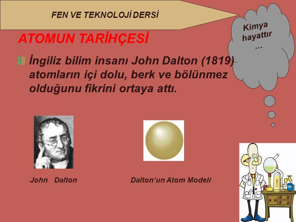 Kimya hayattır … FEN VE TEKNOLOJİ DERSİ ATOMUN TARİHÇESİ İngiliz bilim insanı John Dalton (1819) atomların içi dolu, berk ve bölünmez olduğunu fikrini ortaya attı.