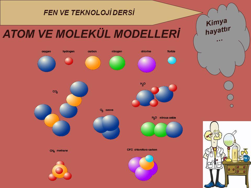 Kimya hayattır … FEN VE TEKNOLOJİ DERSİ ATOM VE MOLEKÜL MODELLERİ