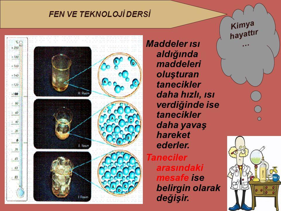 Kimya hayattır … FEN VE TEKNOLOJİ DERSİ Maddeler ısı aldığında maddeleri oluşturan tanecikler daha hızlı, ısı verdiğinde ise tanecikler daha yavaş hareket ederler.