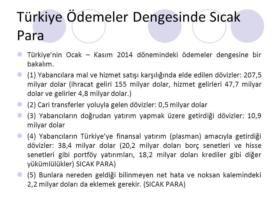 Türkiye Ödemeler Dengesinde Sıcak Para Türkiye'nin Ocak – Kasım 2014 dönemindeki ödemeler dengesine bir bakalım.