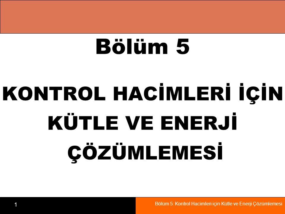 Bölüm 5: Kontrol Hacimleri için Kütle ve Enerji Çözümlemesi 2 Amaçla r Kütlenin korunumu ilkesi geliştirilecektir.