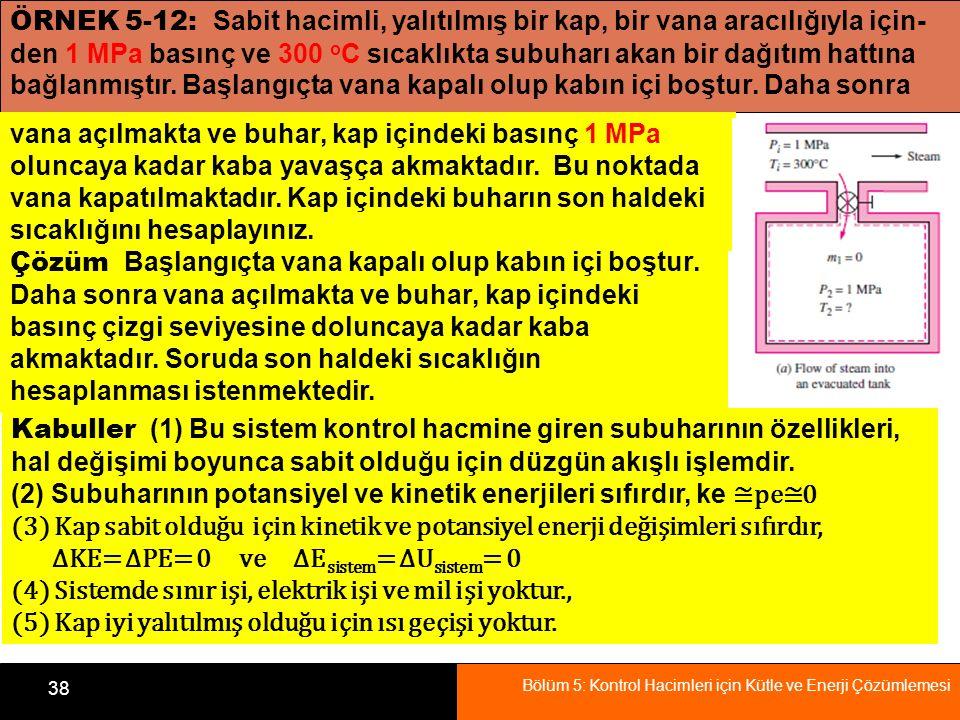 Bölüm 5: Kontrol Hacimleri için Kütle ve Enerji Çözümlemesi 38 ÖRNEK 5-12: Sabit hacimli, yalıtılmış bir kap, bir vana aracılığıyla için- den 1 MPa ba