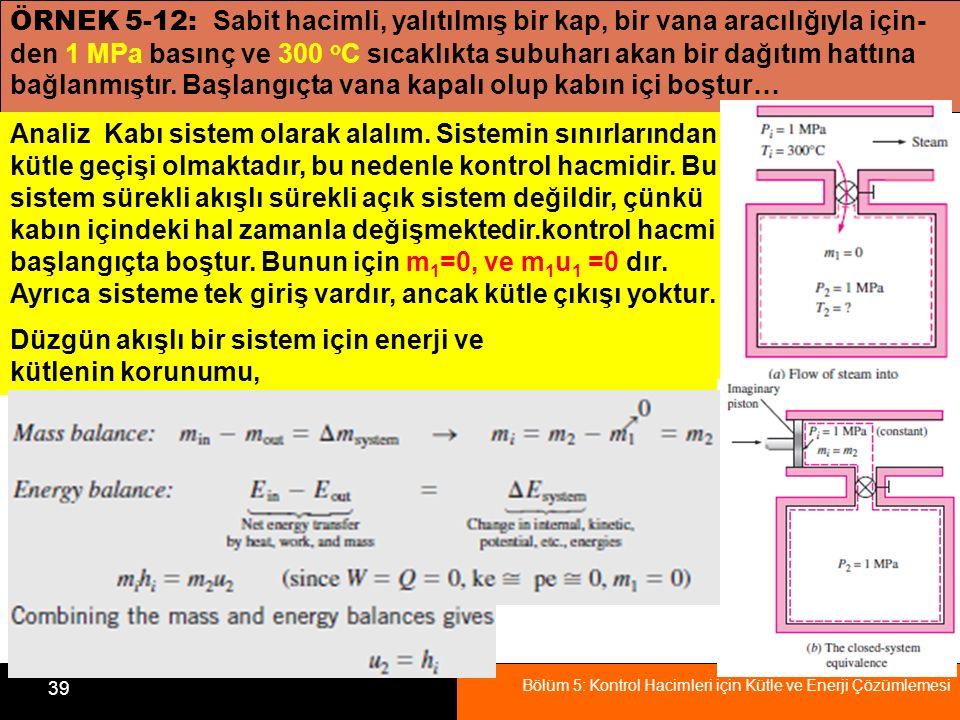 Bölüm 5: Kontrol Hacimleri için Kütle ve Enerji Çözümlemesi 39 ÖRNEK 5-12: Sabit hacimli, yalıtılmış bir kap, bir vana aracılığıyla için- den 1 MPa ba