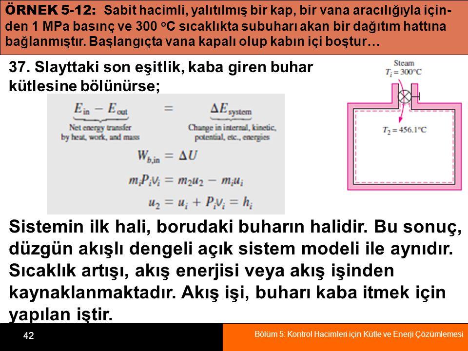 Bölüm 5: Kontrol Hacimleri için Kütle ve Enerji Çözümlemesi 42 ÖRNEK 5-12: Sabit hacimli, yalıtılmış bir kap, bir vana aracılığıyla için- den 1 MPa ba