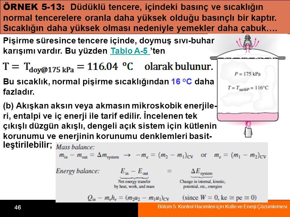 Bölüm 5: Kontrol Hacimleri için Kütle ve Enerji Çözümlemesi 46 ÖRNEK 5-13: Düdüklü tencere, içindeki basınç ve sıcaklığın normal tencerelere oranla da