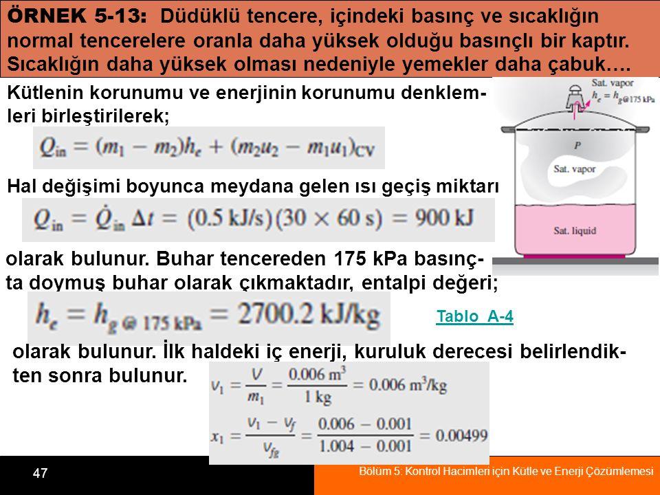 Bölüm 5: Kontrol Hacimleri için Kütle ve Enerji Çözümlemesi 47 ÖRNEK 5-13: Düdüklü tencere, içindeki basınç ve sıcaklığın normal tencerelere oranla da
