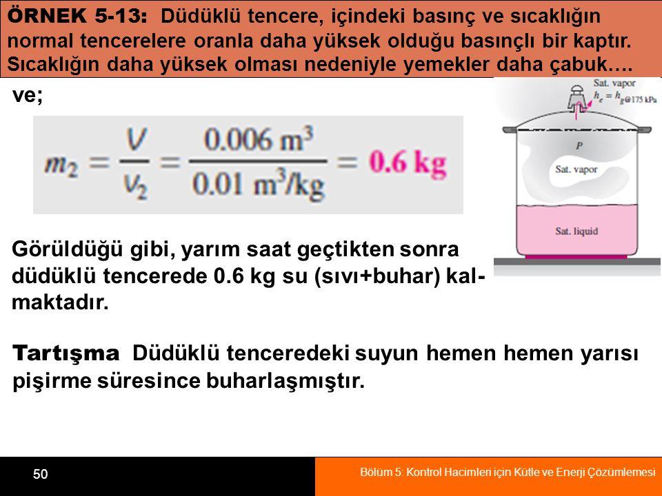 Bölüm 5: Kontrol Hacimleri için Kütle ve Enerji Çözümlemesi 50 ÖRNEK 5-13: Düdüklü tencere, içindeki basınç ve sıcaklığın normal tencerelere oranla da