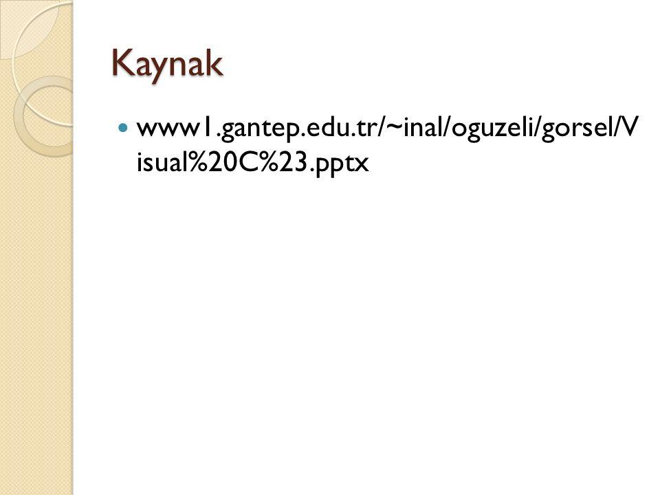 Kaynak www1.gantep.edu.tr/~inal/oguzeli/gorsel/V isual%20C%23.pptx