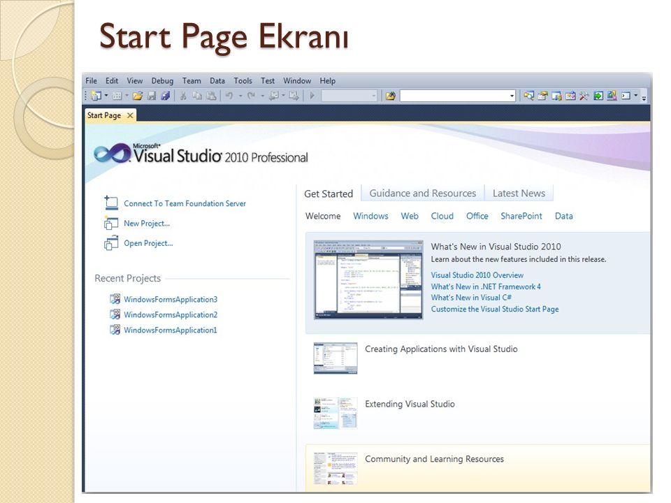 Yeni Proje File-New-Project ile yeni proje oluşturma ekranı gelir.