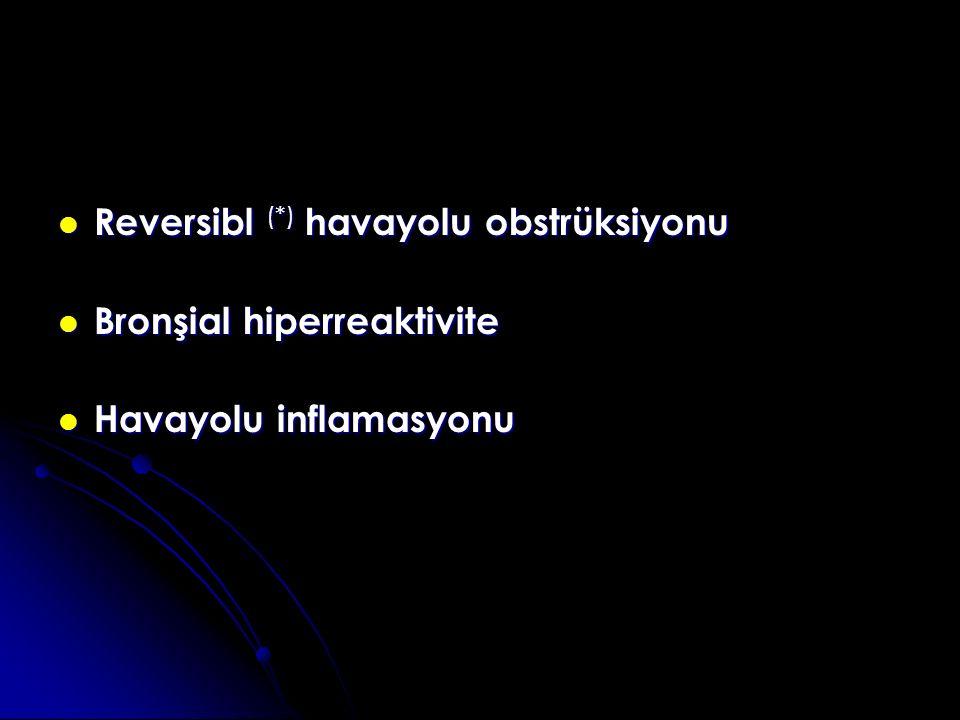 Reversibl (*) havayolu obstrüksiyonu Reversibl (*) havayolu obstrüksiyonu Bronşial hiperreaktivite Bronşial hiperreaktivite Havayolu inflamasyonu Havayolu inflamasyonu MUKUS TIKAÇLARI BRONŞ DUVARI KALINLAŞMASI DÜZ KAS KONTRAKSİYONU YENİDEN YAPILANMA