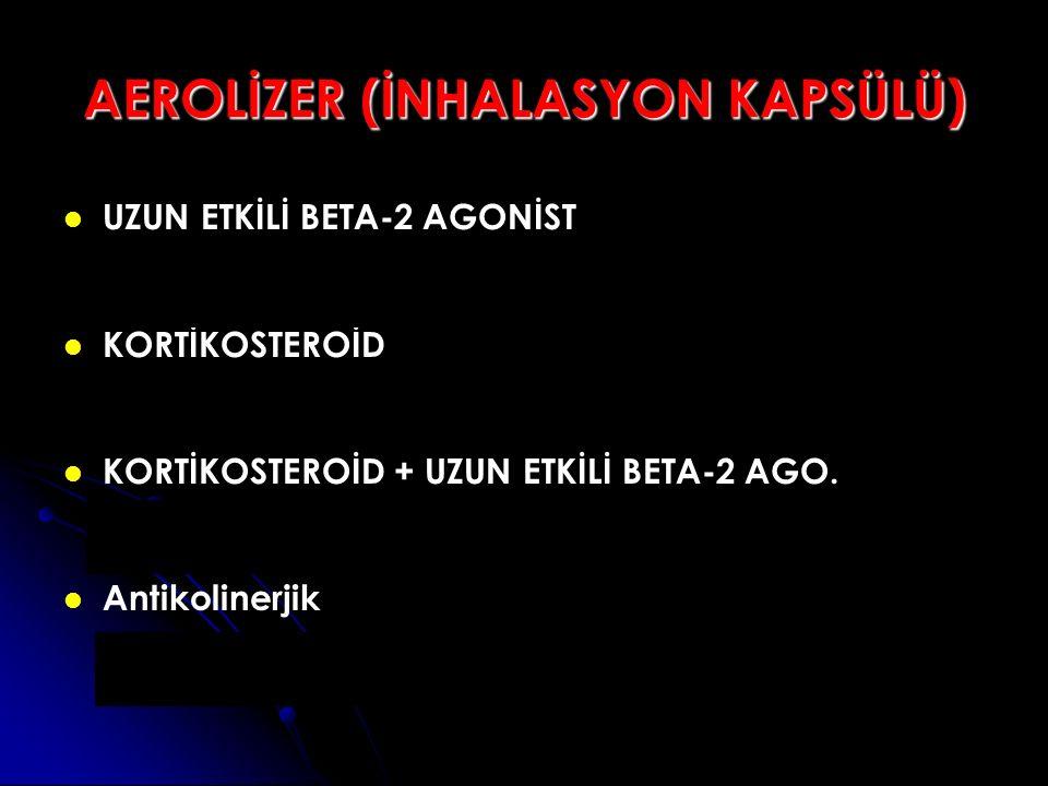 AEROLİZER (İNHALASYON KAPSÜLÜ) UZUN ETKİLİ BETA-2 AGONİST Formoterol (Foradil) KORTİKOSTEROİD Budesonide (Miflonide) KORTİKOSTEROİD + UZUN ETKİLİ BETA