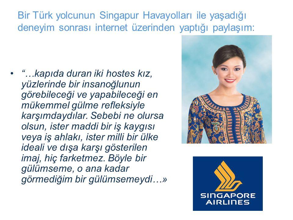 Bir Türk yolcunun Singapur Havayolları ile yaşadığı deneyim sonrası internet üzerinden yaptığı paylaşım: …kapıda duran iki hostes kız, yüzlerinde bir insanoğlunun görebileceği ve yapabileceği en mükemmel gülme refleksiyle karşımdaydılar.