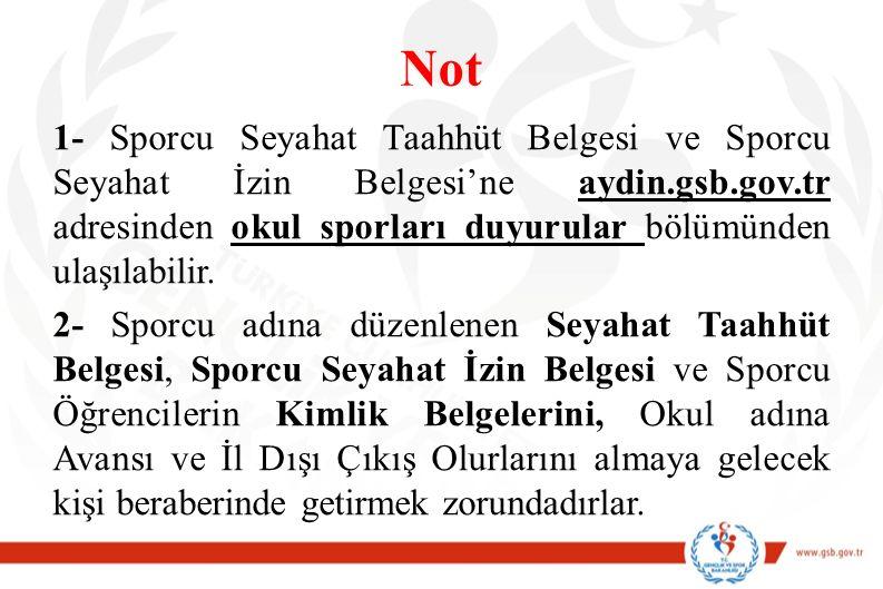 Not 1- Sporcu Seyahat Taahhüt Belgesi ve Sporcu Seyahat İzin Belgesi'ne aydin.gsb.gov.tr adresinden okul sporları duyurular bölümünden ulaşılabilir. 2