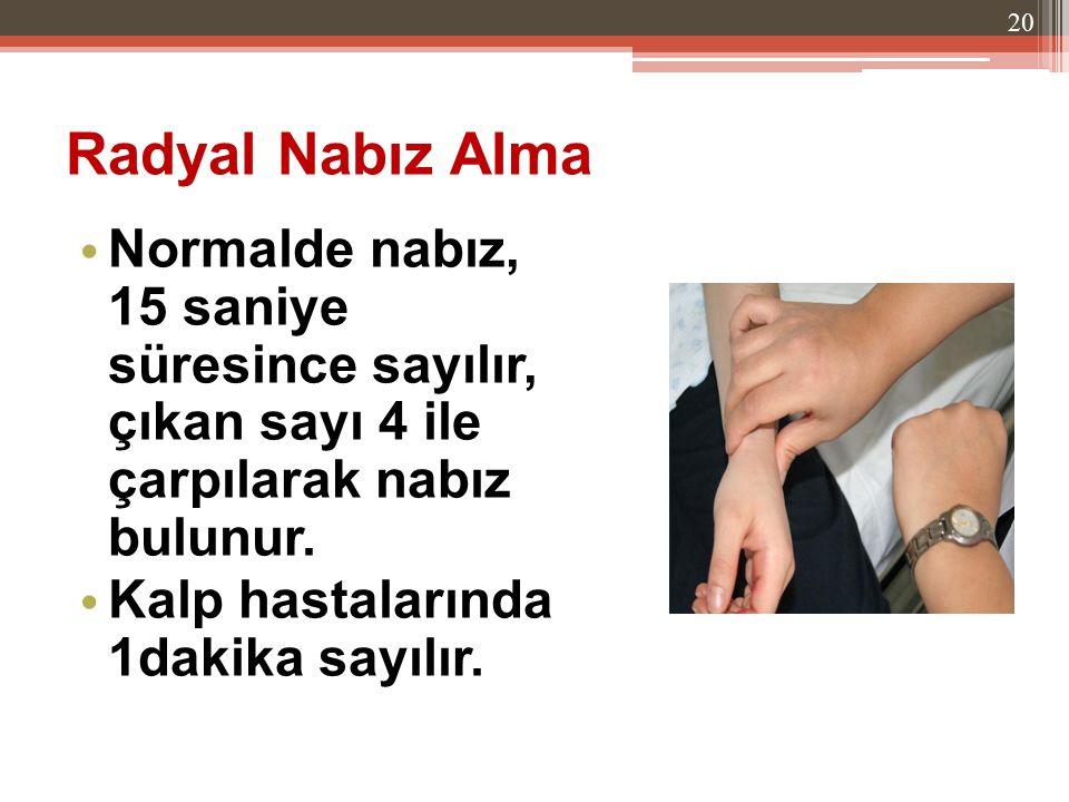 Radyal Nabız Alma Normalde nabız, 15 saniye süresince sayılır, çıkan sayı 4 ile çarpılarak nabız bulunur. Kalp hastalarında 1dakika sayılır. 20